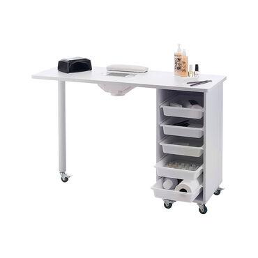 S-PRO Table Manucure avec ventilateur d'extraction Blanc